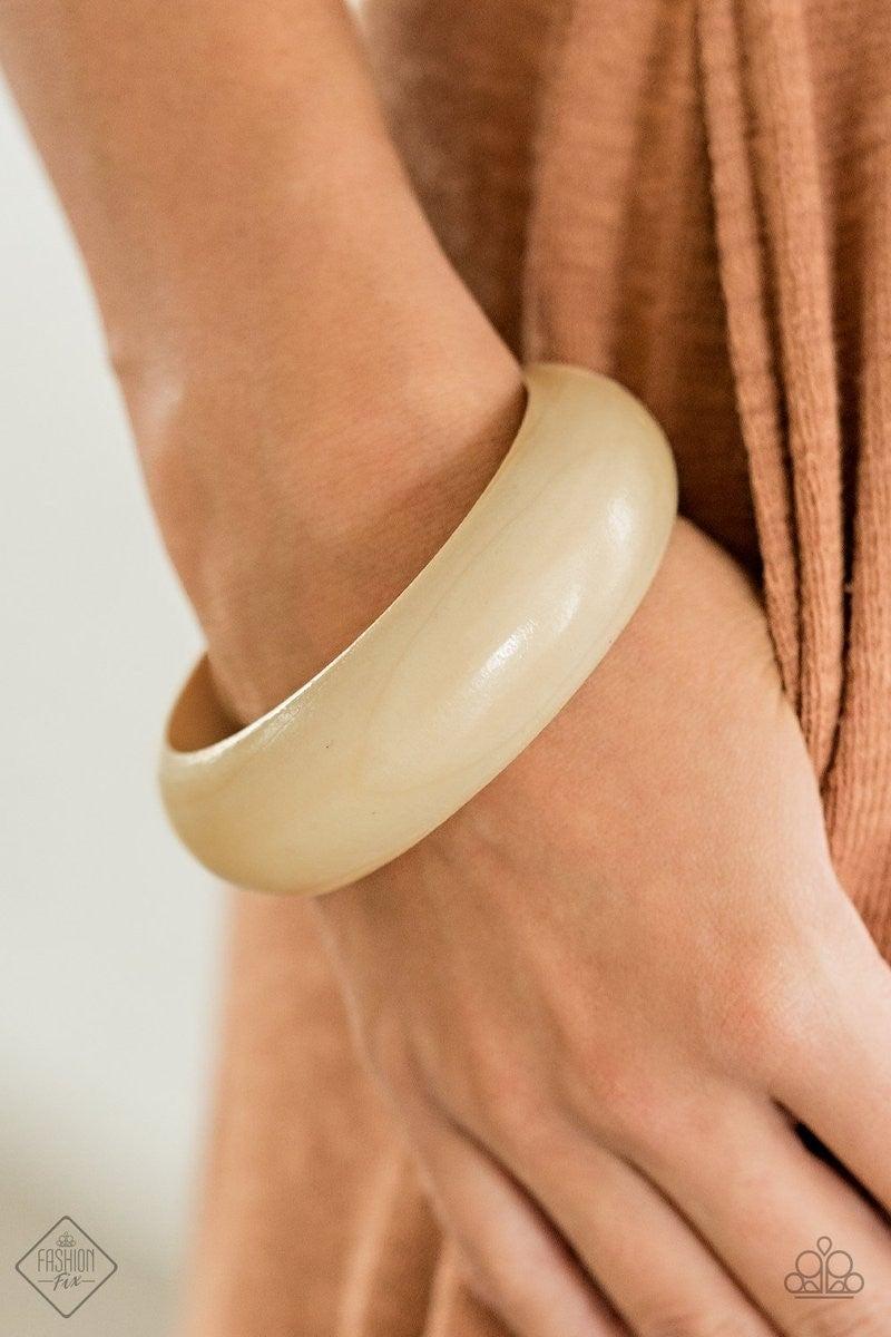 Whimsically Woodsy Bracelet - White Bangle