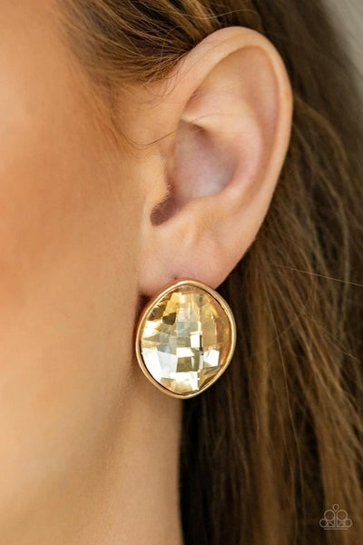 Movie Star Sparkle - Gold Earrings