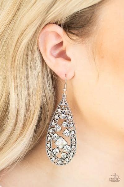 Drop Dead Dazzle - White Earrings