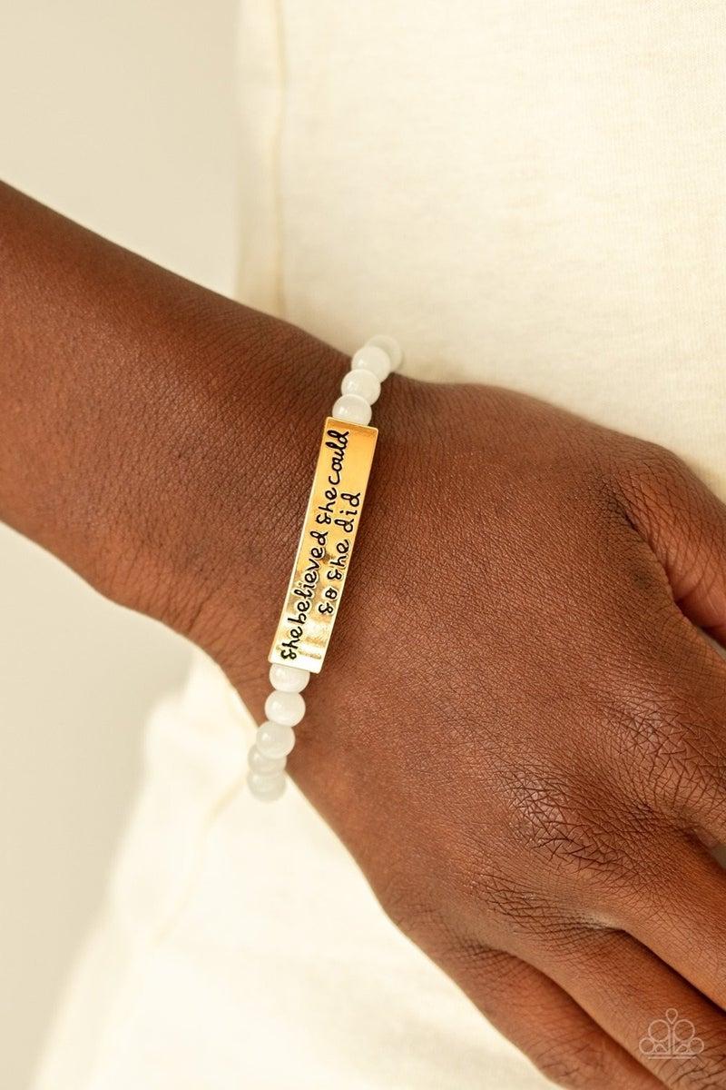 So She Did - Gold Stretchy Bracelet