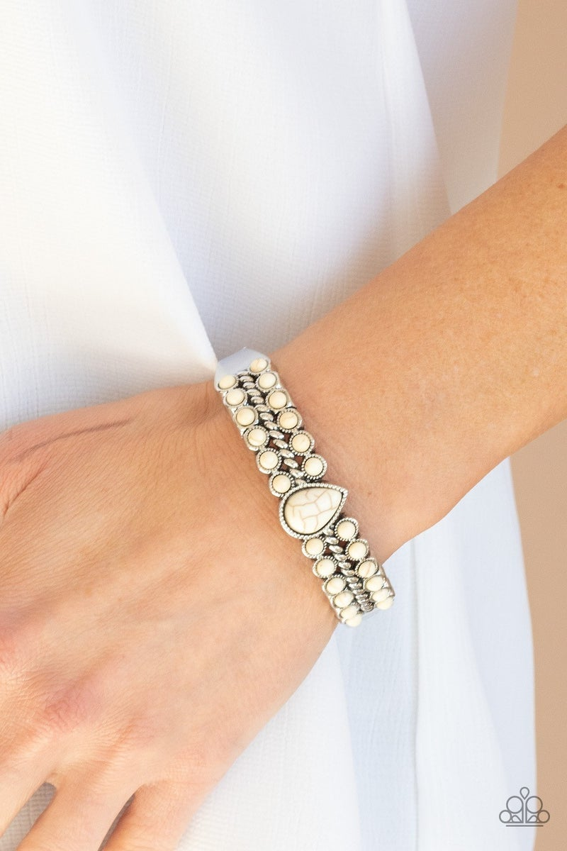Nature Resort - White Hinged Bracelet