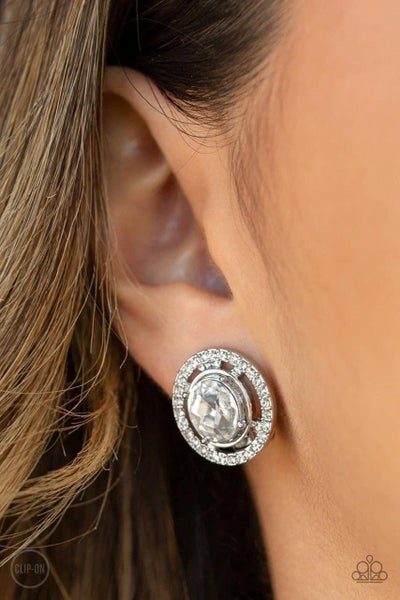 Cost a Fortune - White Clip-On Earrings