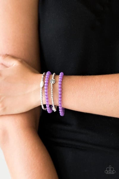 Blooming Buttercups - Purple Stretchy Bracelet