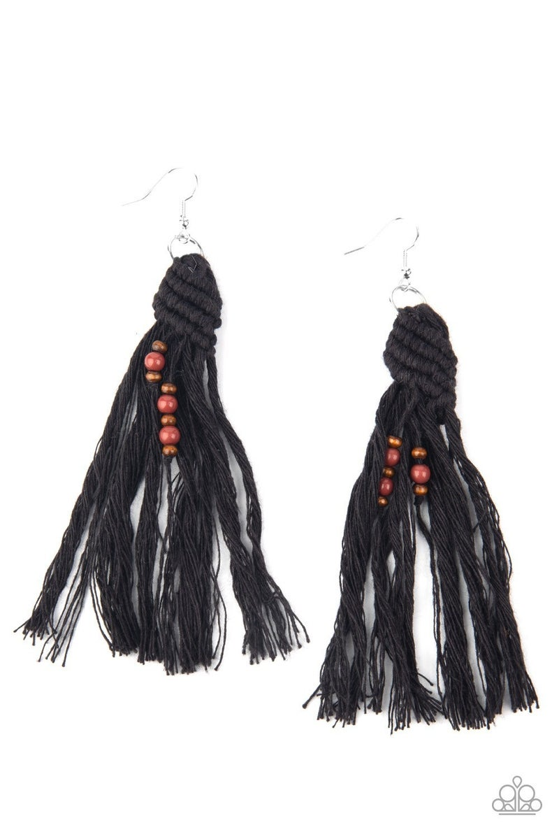 Beach Bash - Black Earrings