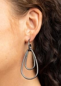 Droppin Drama - Gunmetal Hoop Earrings