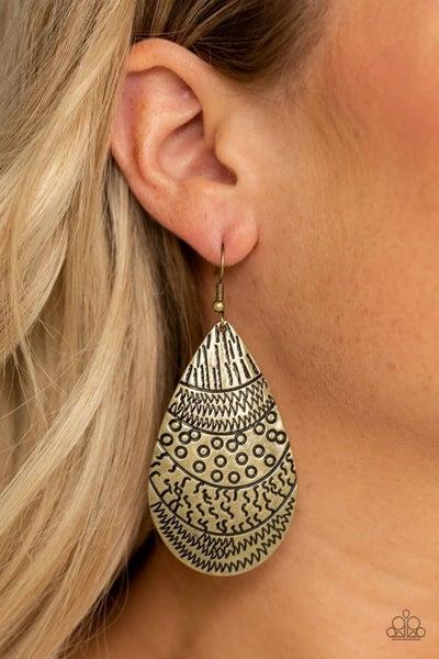 Safari Splash - Brass Earrings