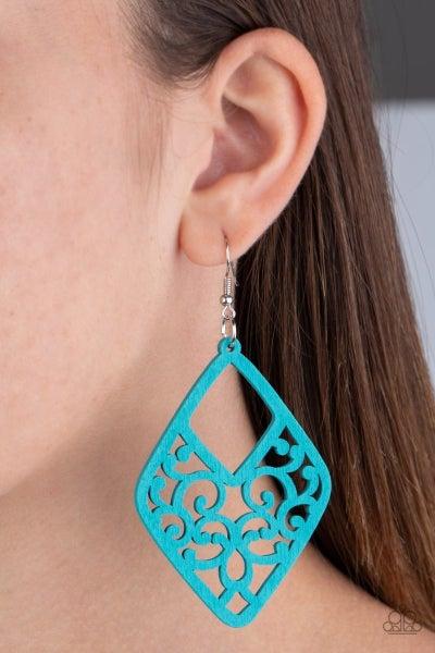 VINE for the Taking - Blue Wooden Earrings