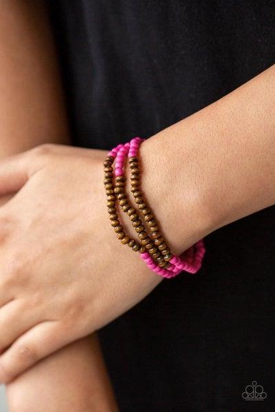 Woodland Wanderer - Pink Stretchy Bracelet