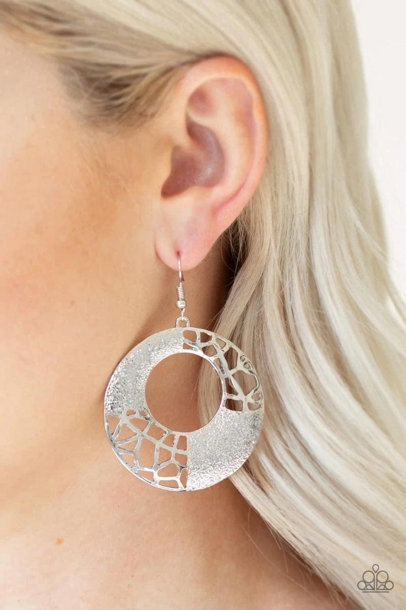 Shattered Shimmer - Silver Earrings