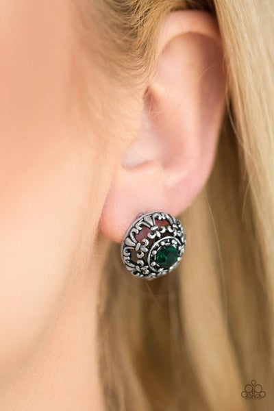 Courtly Courtliness - Green Earrings