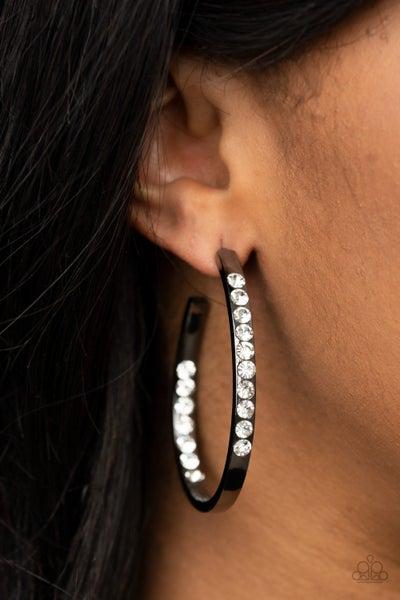 Borderline Brilliance - Gunmetal Hoop Earrings