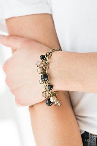 Grit and Glamour - Black/Brass Clasp Bracelet