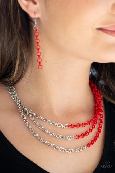 Turn Up The Volume - Red Necklace