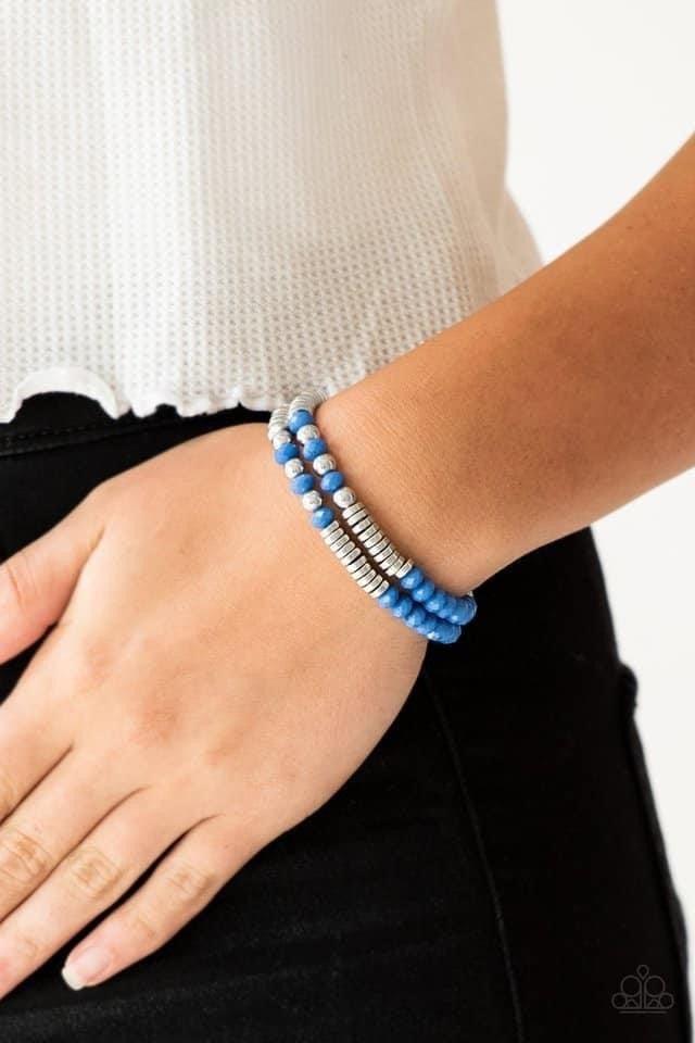 Downright Dressy - Blue Stretchy Bracelet