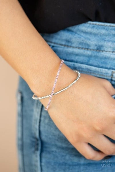 Chicly Crisscrossed - Pink Stretchy Cuff