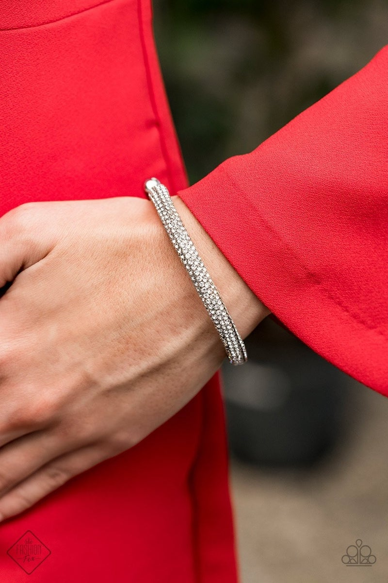 Stageworthy Sparkle - White Coil Bracelet