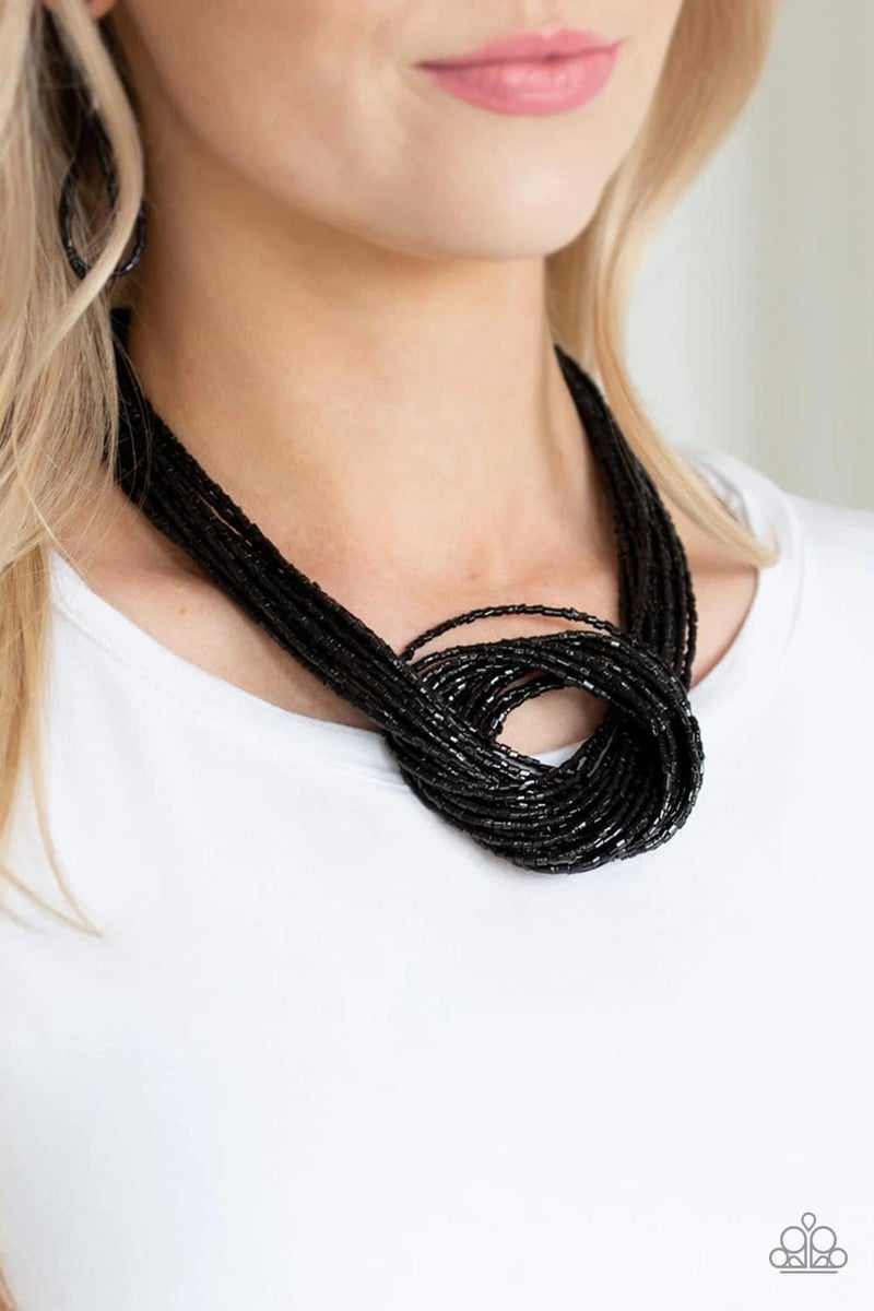 Knotted Knockout - Black Seed Bead Necklace