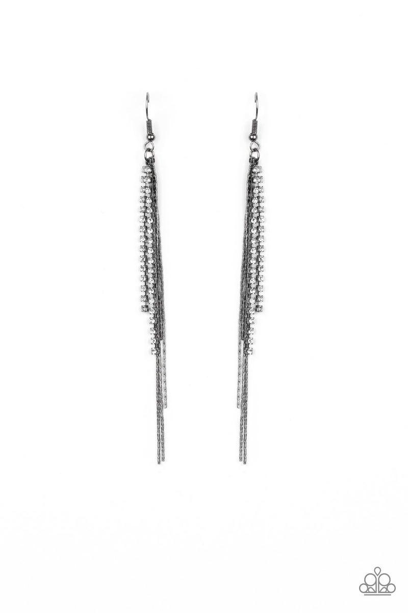 REIGN Check - Gunmetal Earrings