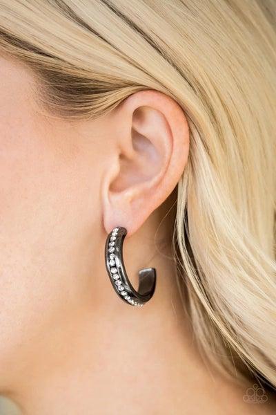 5th Avenue Fashionista - Gunmetal Hoop Earrings