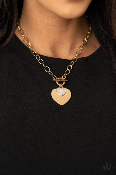 Heart-Stopping Sparkle - Gold Necklace
