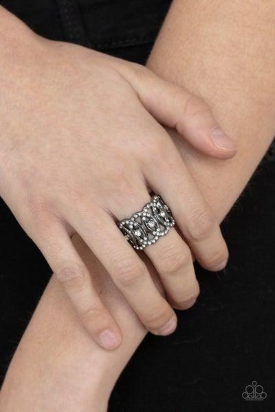 OVAL-Ruled - Gunmetal Ring