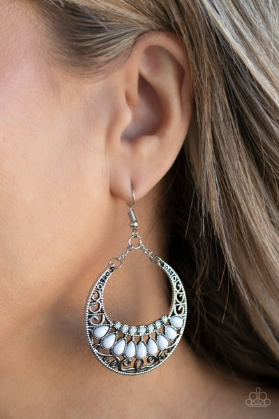 Crescent Couture - White Earrings