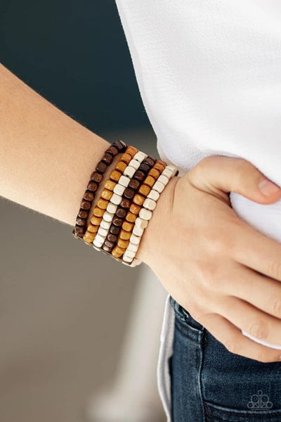 Tropical Tundra - Brown Stretchy Bracelet