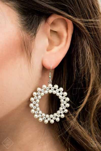 Pearly Poise - White Earrings