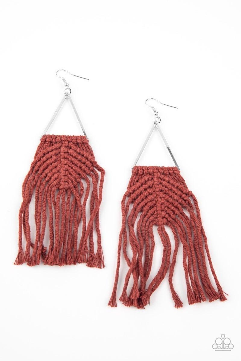 Macrame Jungle - Brown Earrings