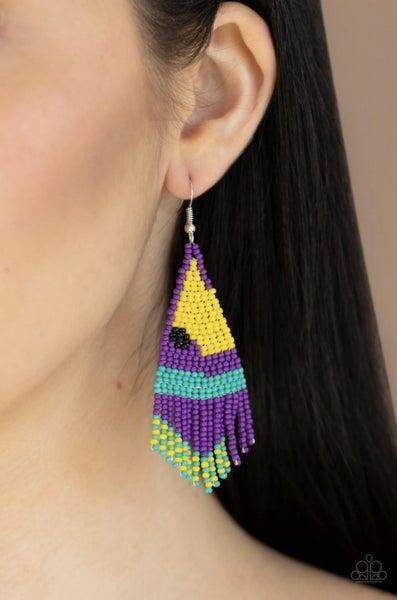 Brightly Beaded - Purple Earrings