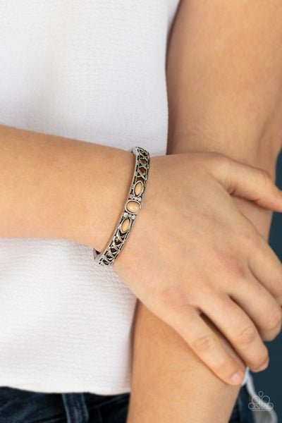 Caught In The Cross HEIRS - Brown Hinged Bracelet