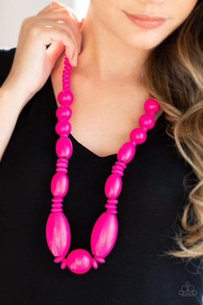 Summer Breezin - Pink Wooden Necklace