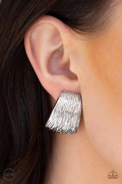 Superstar Shimmer - Silver Clip-On Earrings