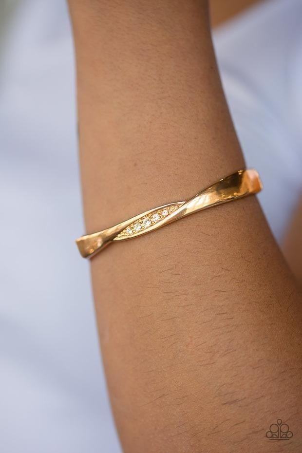 Glittering Grit - Gold Hinged Bracelet