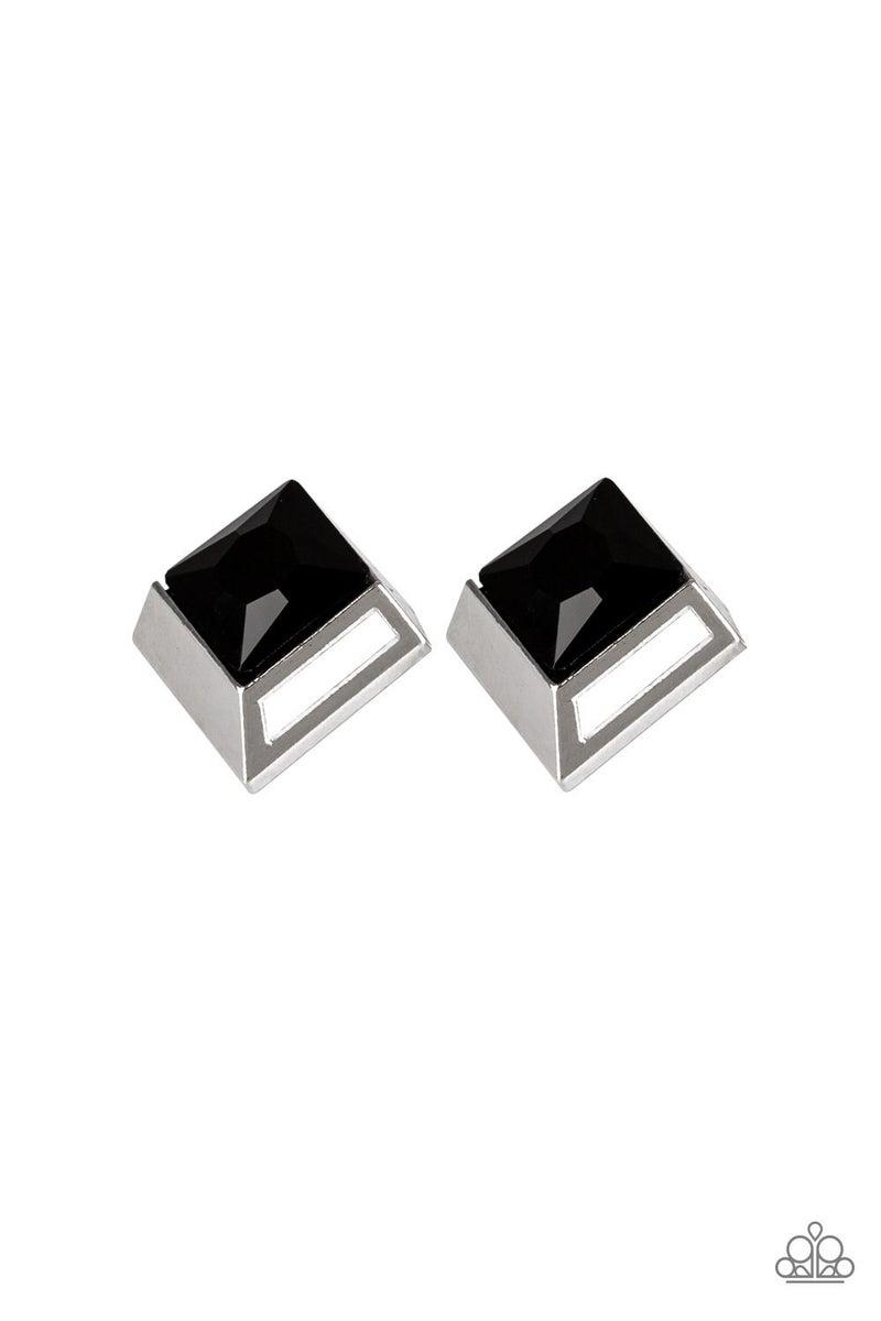 Stellar Square - Black Earrings