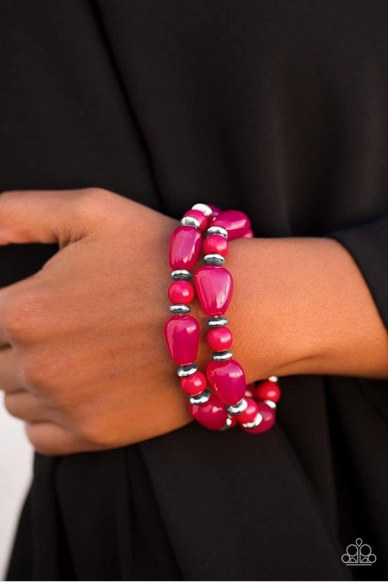 Show Us HUEs Boss! - Pink Stretchy Bracelet