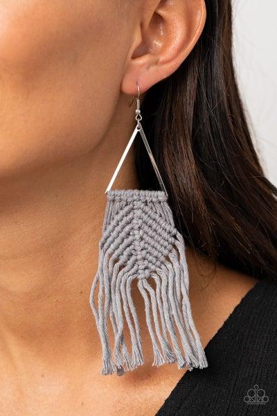 Macrame Jungle - Silver Earrings