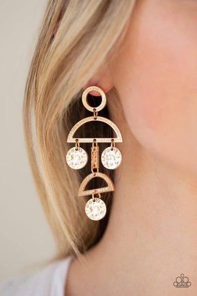Incan Eclipse - Gold Earrings