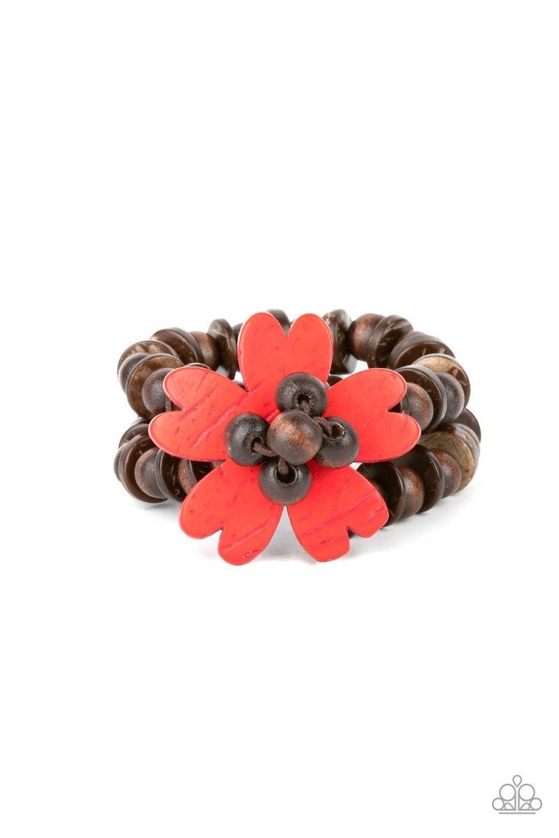Tropical Flavor - Red Stretchy Bracelet