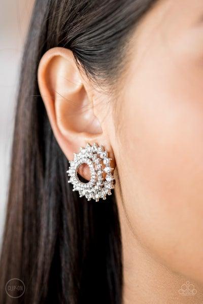 Buckingham Beauty - White Clip-On Earrings