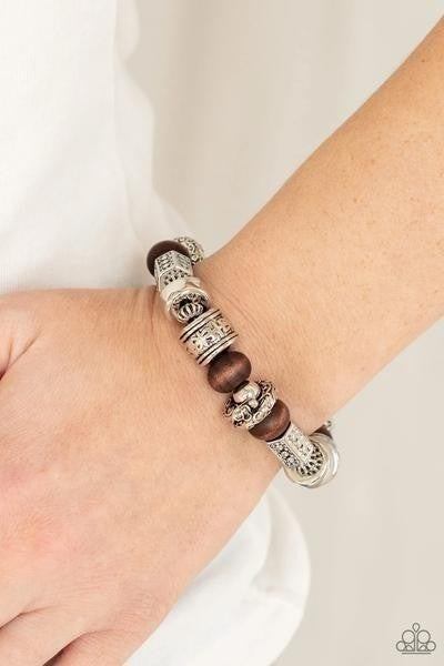 Exploring The Elements - Brown Stretchy Bracelet