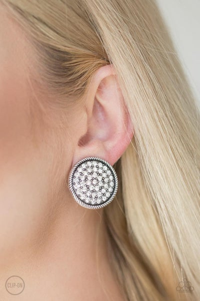 Gatsby, Who? - White Clip-On Earrings