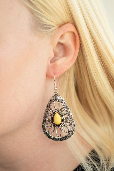 Floral Frill - Yellow Earrings