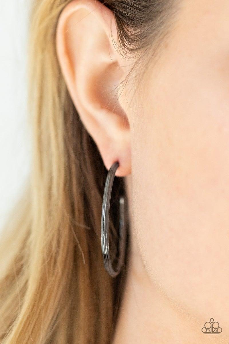 Chic As Can Be - Black Hoop Earrings
