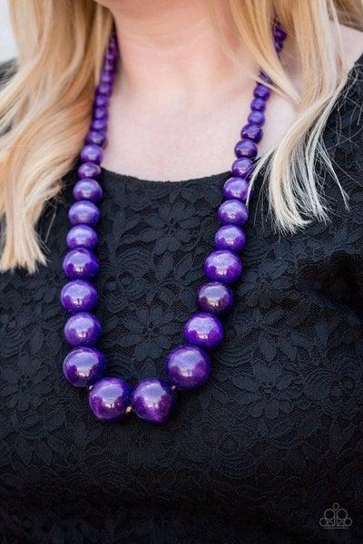 Effortlessly Everglades - Purple Wooden Necklace