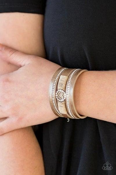 It Takes Heart - Brown Clasp Bracelet
