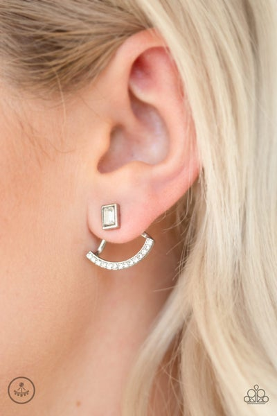 Delicate Arches - White Earrings