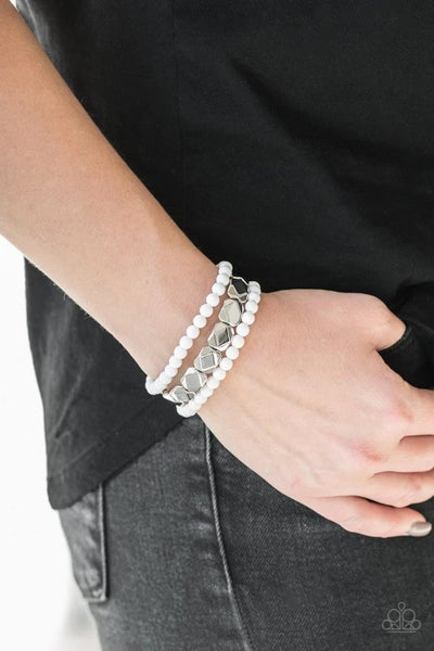 Fiesta Flavor - White Stretchy Bracelet