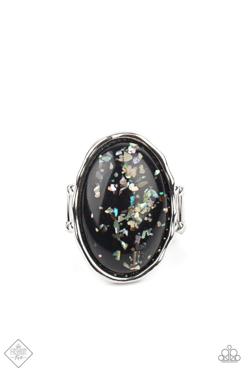 Glittery With Envy - Black Ring - June 2021 Fashion Fix
