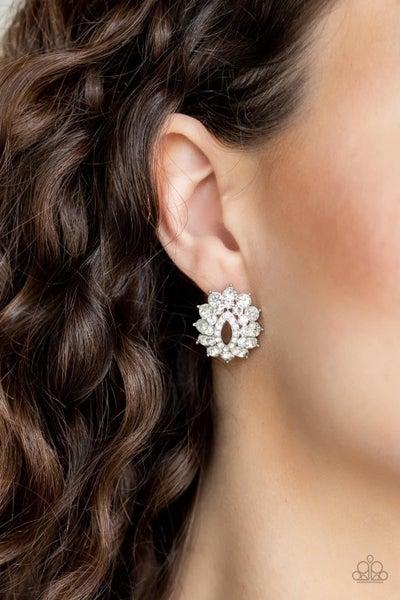 Brighten The Moment - White Earrings